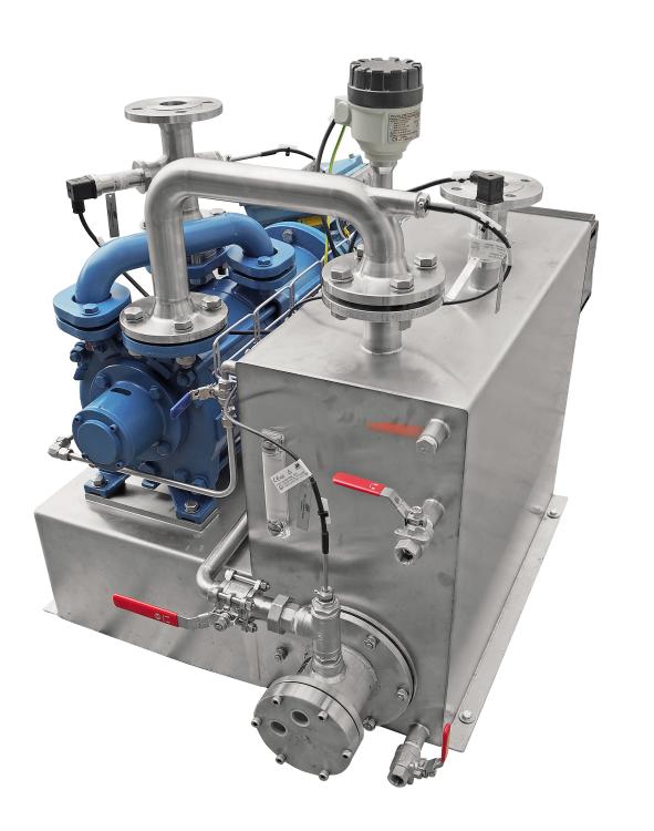 Compact Vacuum unit with a circulation of service liquid