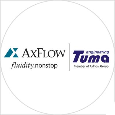 Dual brand logo AxFlow and Tuma Engineering